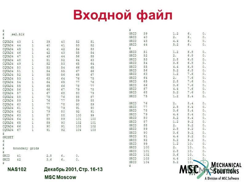 NAS102 Декабрь 2001, Стр. 16-13 MSC Moscow MSC Moscow Входной файл $ $ se2. blk $ CQUAD4 43 1 39 40 52 51 CQUAD4 44 1 40 41 53 52 CQUAD4 45 1 41 42 54 53 CQUAD4 46 1 42 43 55 54 CQUAD4 47 1 43 44 56 55 CQUAD4 48 1 51 52 64 63 CQUAD4 49 1 52 53 65 64