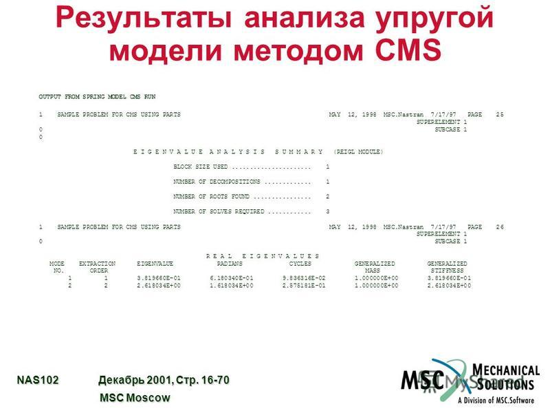 NAS102 Декабрь 2001, Стр. 16-70 MSC Moscow MSC Moscow Результаты анализа упругой модели методом CMS OUTPUT FROM SPRING MODEL CMS RUN 1 SAMPLE PROBLEM FOR CMS USING PARTS MAY 12, 1998 MSC.Nastran 7/17/97 PAGE 25 SUPERELEMENT 1 0 SUBCASE 1 0 E I G E N