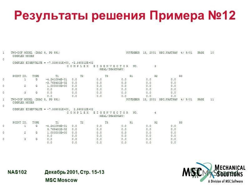 NAS102 Декабрь 2001, Стр. 15-13 MSC Moscow MSC Moscow Результаты решения Примера 12 1 TWO-DOF MODEL (IMAC 8, PG 891) NOVEMBER 13, 2001 MSC.NASTRAN 4/ 9/01 PAGE 10 COMPLEX MODES 0 COMPLEX EIGENVALUE = -7.339031E+00, -2.360312E+02 C O M P L E X E I G E