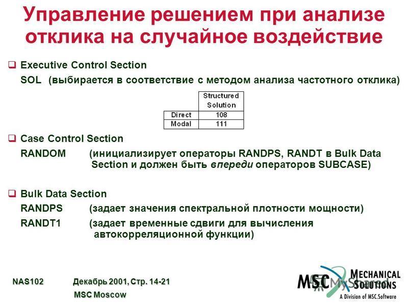 NAS102 Декабрь 2001, Стр. 14-21 MSC Moscow MSC Moscow Управление решением при анализе отклика на случайное воздействие qExecutive Control Section SOL(выбирается в соответствие с методом анализа частотного отклика) qCase Control Section RANDOM(инициал