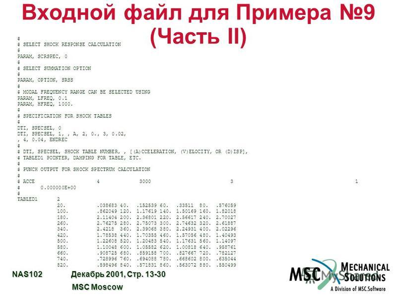 NAS102 Декабрь 2001, Стр. 13-30 MSC Moscow MSC Moscow Входной файл для Примера 9 (Часть II) $ $ SELECT SHOCK RESPONSE CALCULATION $ PARAM, SCRSPEC, 0 $ $ SELECT SUMMATION OPTION $ PARAM, OPTION, SRSS $ $ MODAL FREQUENCY RANGE CAN BE SELECTED USING PA