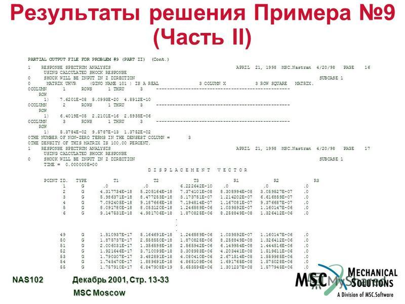 NAS102 Декабрь 2001, Стр. 13-33 MSC Moscow MSC Moscow Результаты решения Примера 9 (Часть II) PARTIAL OUTPUT FILE FOR PROBLEM #9 (PART II) (Cont.) 1 RESPONSE SPECTRUM ANALYSIS APRIL 21, 1998 MSC.Nastran 4/20/98 PAGE 16 USING CALCULATED SHOCK RESPONSE