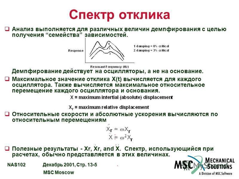 NAS102 Декабрь 2001, Стр. 13-5 MSC Moscow MSC Moscow Спектр отклика q Анализ выполняется для различных величин демпфирования с целью получения семейства зависимостей. Демпфирование действует на осцилляторы, а не на основание. q Максимальное значение