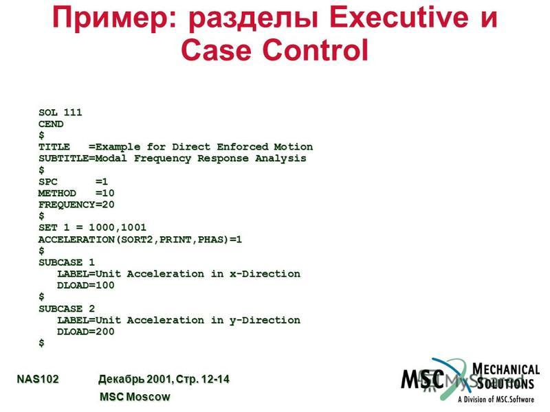 NAS102 Декабрь 2001, Стр. 12-14 MSC Moscow MSC Moscow Пример: разделы Executive и Case Control SOL 111 CEND $ TITLE =Example for Direct Enforced Motion SUBTITLE=Modal Frequency Response Analysis $ SPC =1 METHOD =10 FREQUENCY=20 $ SET 1 = 1000,1001 AC