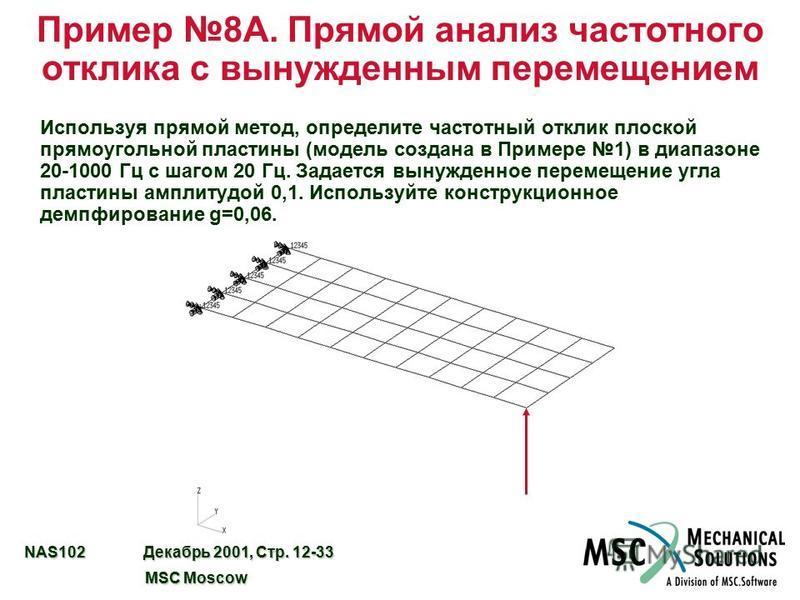 NAS102 Декабрь 2001, Стр. 12-33 MSC Moscow MSC Moscow Пример 8A. Прямой анализ частотного отклика с вынужденным перемещением Используя прямой метод, определите частотный отклик плоской прямоугольной пластины (модель создана в Примере 1) в диапазоне 2