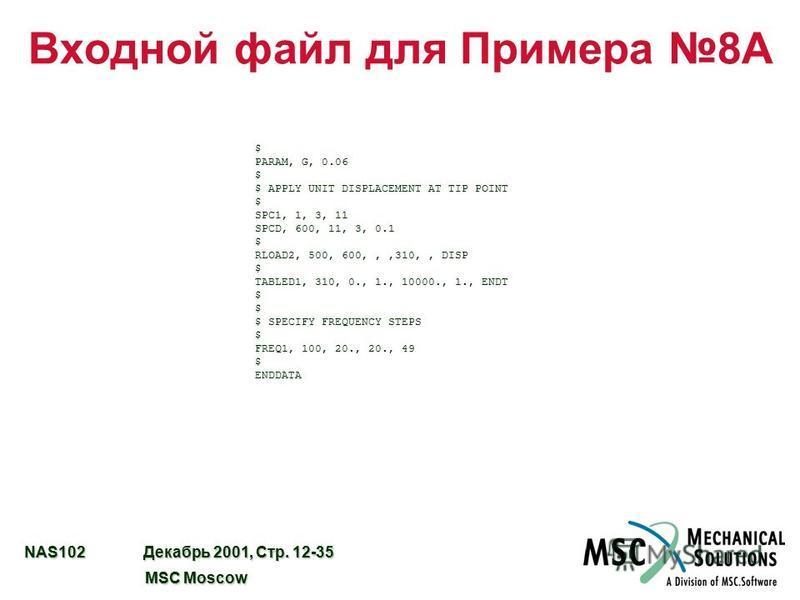 NAS102 Декабрь 2001, Стр. 12-35 MSC Moscow MSC Moscow Входной файл для Примера 8A $ PARAM, G, 0.06 $ $ APPLY UNIT DISPLACEMENT AT TIP POINT $ SPC1, 1, 3, 11 SPCD, 600, 11, 3, 0.1 $ RLOAD2, 500, 600,,,310,, DISP $ TABLED1, 310, 0., 1., 10000., 1., END