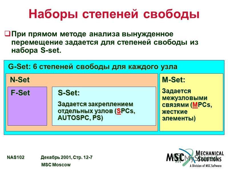 NAS102 Декабрь 2001, Стр. 12-7 MSC Moscow MSC Moscow Наборы степеней свободы q При прямом методе анализа вынужденное перемещение задается для степеней свободы из набора S-set. G-Set: 6 степеней свободы для каждого узла N-SetM-Set: Задается межузловым