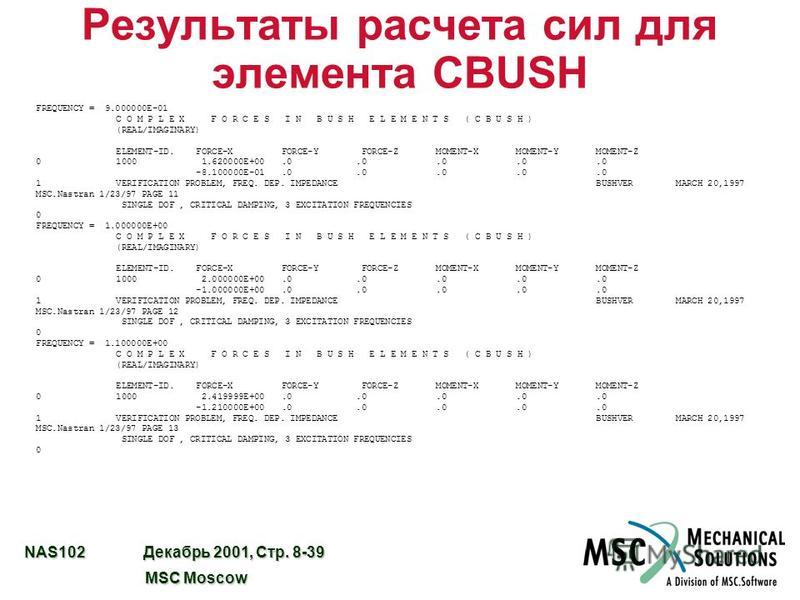 NAS102 Декабрь 2001, Стр. 8-39 MSC Moscow MSC Moscow Результаты расчета сил для элемента CBUSH FREQUENCY = 9.000000E-01 C O M P L E X F O R C E S I N B U S H E L E M E N T S ( C B U S H ) (REAL/IMAGINARY) ELEMENT-ID. FORCE-X FORCE-Y FORCE-Z MOMENT-X