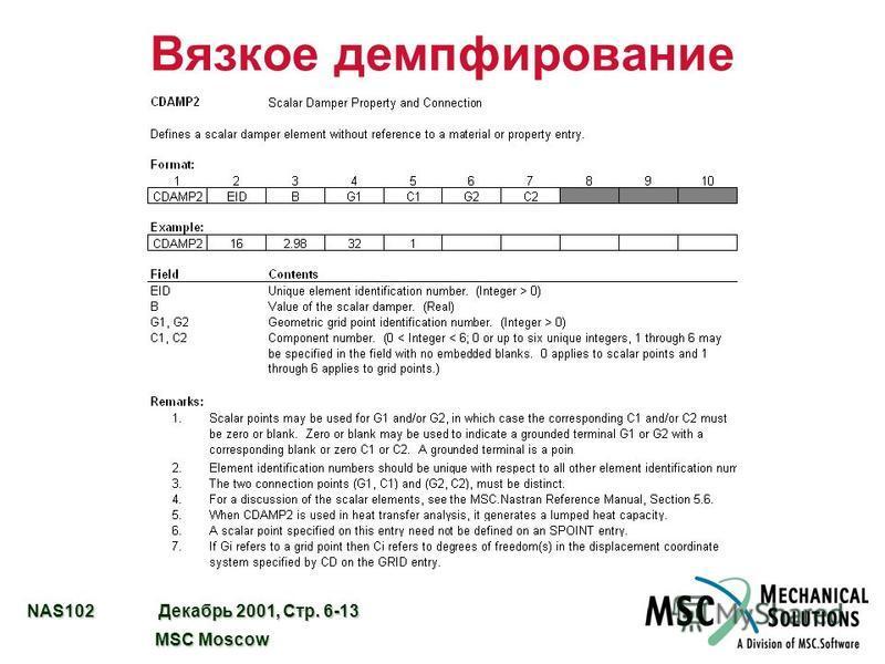 NAS102 Декабрь 2001, Стр. 6-13 MSC Moscow MSC Moscow Вязкое демпфирование
