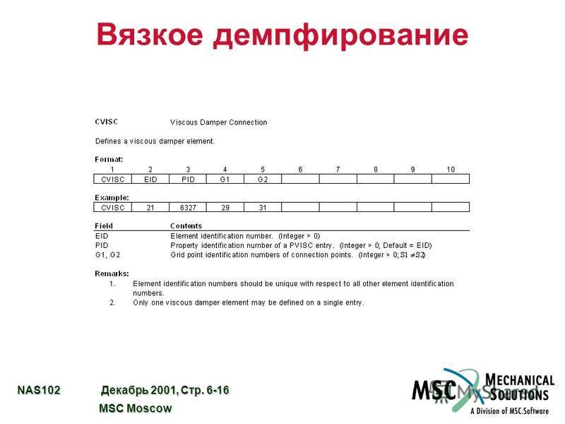 NAS102 Декабрь 2001, Стр. 6-16 MSC Moscow MSC Moscow Вязкое демпфирование