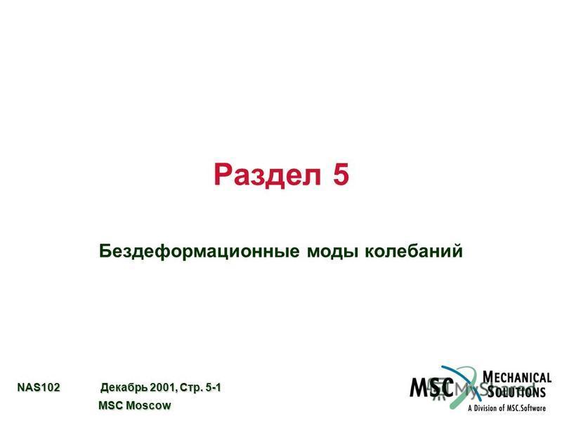NAS102 Декабрь 2001, Стр. 5-1 MSC Moscow MSC Moscow Раздел 5 Бездеформационные моды колебаний