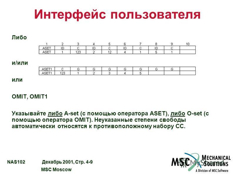 NAS102 Декабрь 2001, Стр. 4-9 MSC Moscow MSC Moscow Интерфейс пользователя Либо и/или или OMIT, OMIT1 Указывайте либо A-set (с помощью оператора ASET), либо O-set (с помощью оператора OMIT). Неуказанные степени свободы автоматически относятся к проти