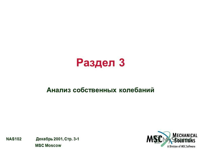 NAS102 Декабрь 2001, Стр. 3-1 MSC Moscow MSC Moscow Раздел 3 Анализ собственных колебаний