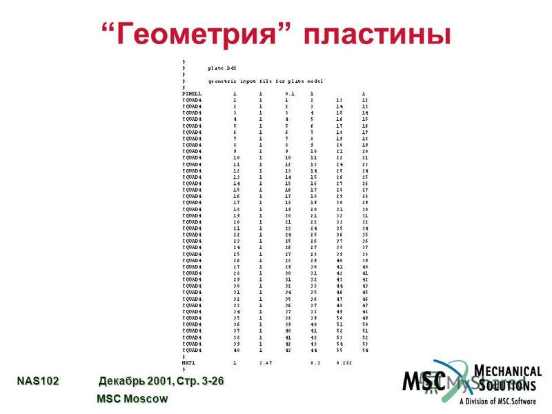 NAS102 Декабрь 2001, Стр. 3-26 MSC Moscow MSC Moscow Геометрия пластины