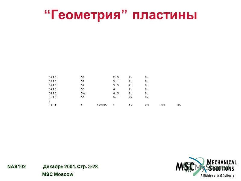 NAS102 Декабрь 2001, Стр. 3-28 MSC Moscow MSC Moscow Геометрия пластины