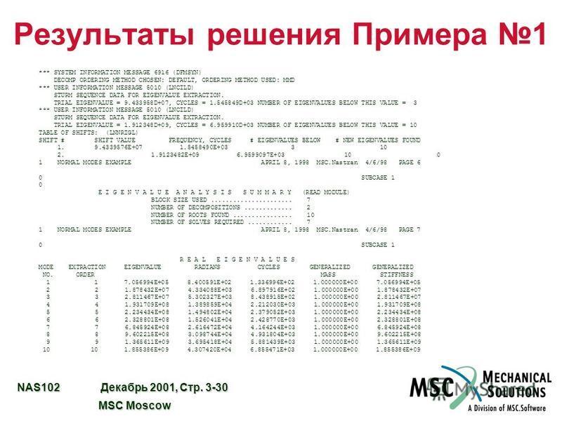 NAS102 Декабрь 2001, Стр. 3-30 MSC Moscow MSC Moscow Результаты решения Примера 1 *** SYSTEM INFORMATION MESSAGE 6916 (DFMSYN) DECOMP ORDERING METHOD CHOSEN: DEFAULT, ORDERING METHOD USED: MMD *** USER INFORMATION MESSAGE 5010 (LNCILD) STURM SEQUENCE