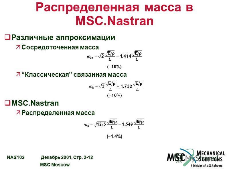 NAS102 Декабрь 2001, Стр. 2-12 MSC Moscow MSC Moscow Распределенная масса в MSC.Nastran q Различные аппроксимации äСосредоточенная масса äКлассическая связанная масса qMSC.Nastran äРаспределенная масса