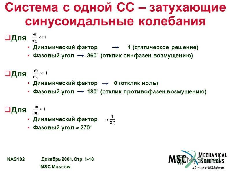 NAS102 Декабрь 2001, Стр. 1-18 MSC Moscow MSC Moscow Система с одной СС – затухающие синусоидальные колебания q Для Динамический фактор 1 (статическое решение) Фазовый угол 360 (отклик синфазен возмущению) q Для Динамический фактор 0 (отклик ноль) Фа