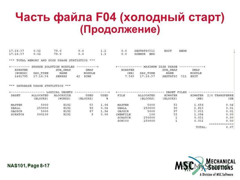 NAS101, Page 8-17 Часть файла F04 (холодный старт) (Продолжение)