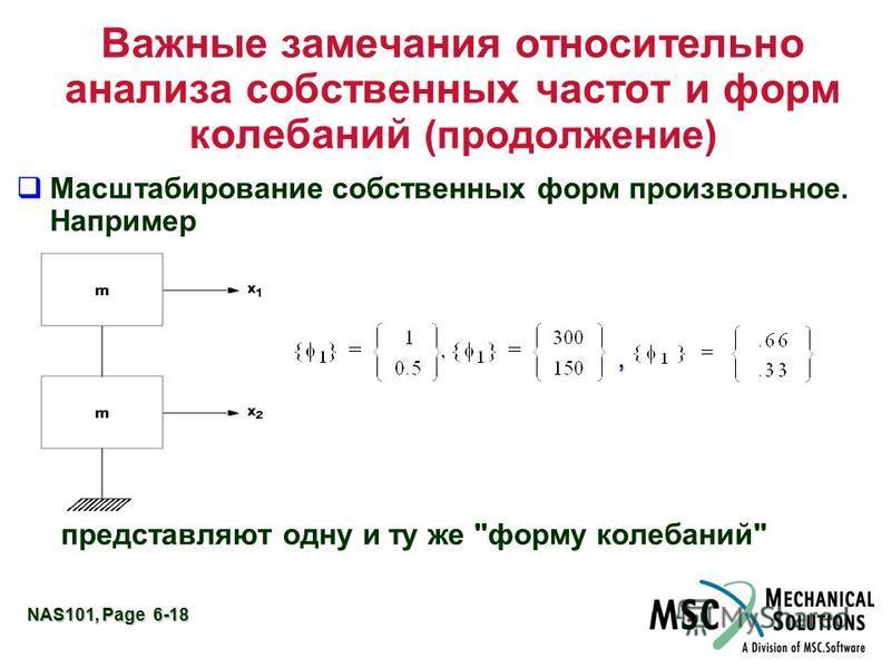 NAS101, Page 6-18 Важные замечания относительно анализа собственных частот и форм колебаний (продолжение) q Масштабирование собственных форм произвольное. Например представляют одну и ту же форму колебаний,