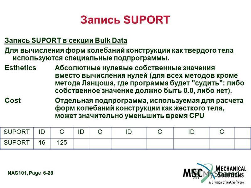 NAS101, Page 6-28 Запись SUPORT Запись SUPORT в секции Bulk Data Для вычисления форм колебаний конструкции как твердого тела используются специальные подпрограммы. Esthetics Абсолютные нулевые собственные значения вместо вычисления нулей (для всех ме