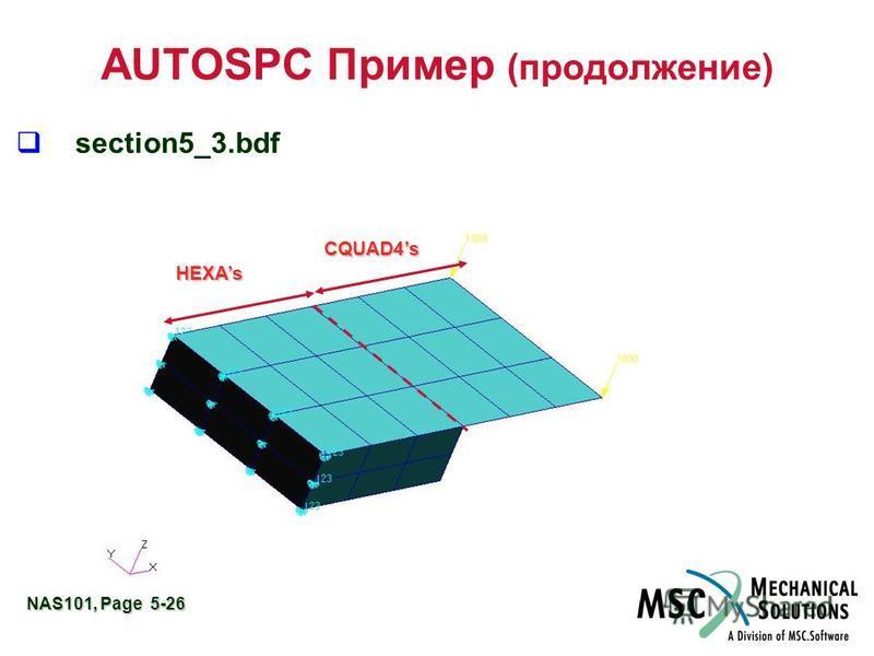 NAS101, Page 5-26 AUTOSPC Пример (продолжение) q section5_3. bdf HEXAs CQUAD4s