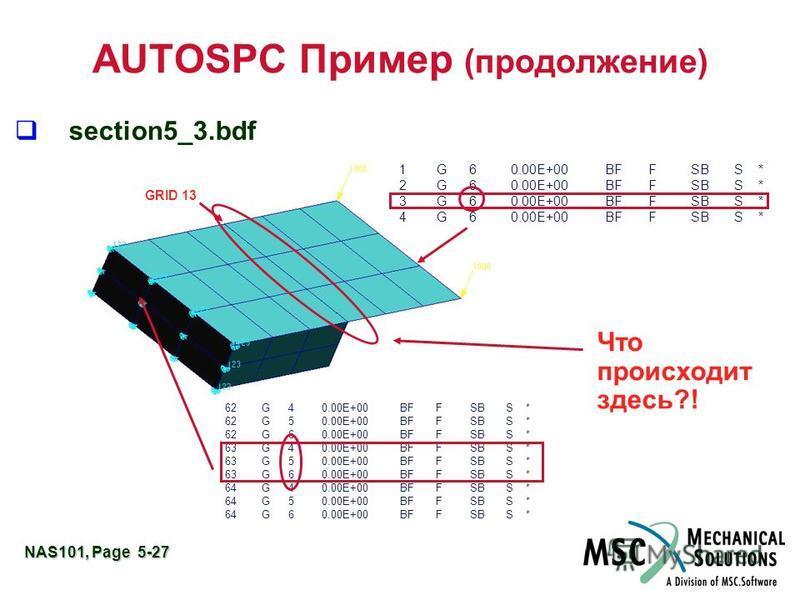 NAS101, Page 5-27 AUTOSPC Пример (продолжение) section5_3. bdf 1 G 6 0.00E+00 BF F SB S * 2 G 6 0.00E+00 BF F SB S * 3 G 6 0.00E+00 BF F SB S * 4 G 6 0.00E+00 BF F SB S * 62 G 4 0.00E+00 BF F SB S * 62 G 5 0.00E+00 BF F SB S * 62 G 6 0.00E+00 BF F SB