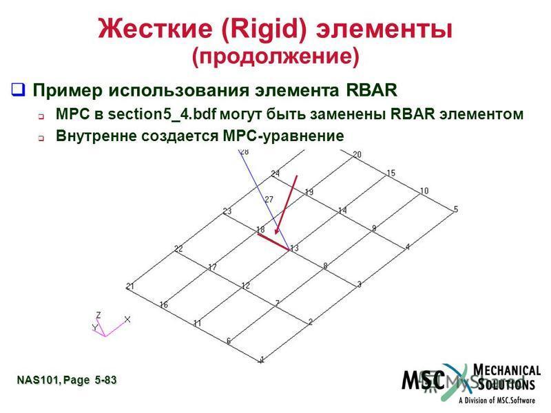 NAS101, Page 5-83 Жесткие (Rigid) элементы (продолжение) Пример использования элемента RBAR MPC в section5_4. bdf могут быть заменены RBAR элементом Внутренне создается MPC-уравнение