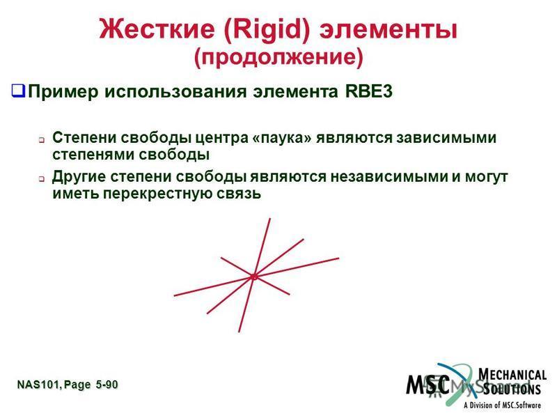 NAS101, Page 5-90 Жесткие (Rigid) элементы (продолжение) Пример использования элемента RBE3 Степени свободы центра «паука» являются зависимыми степенями свободы Другие степени свободы являются независимыми и могут иметь перекрестную связь