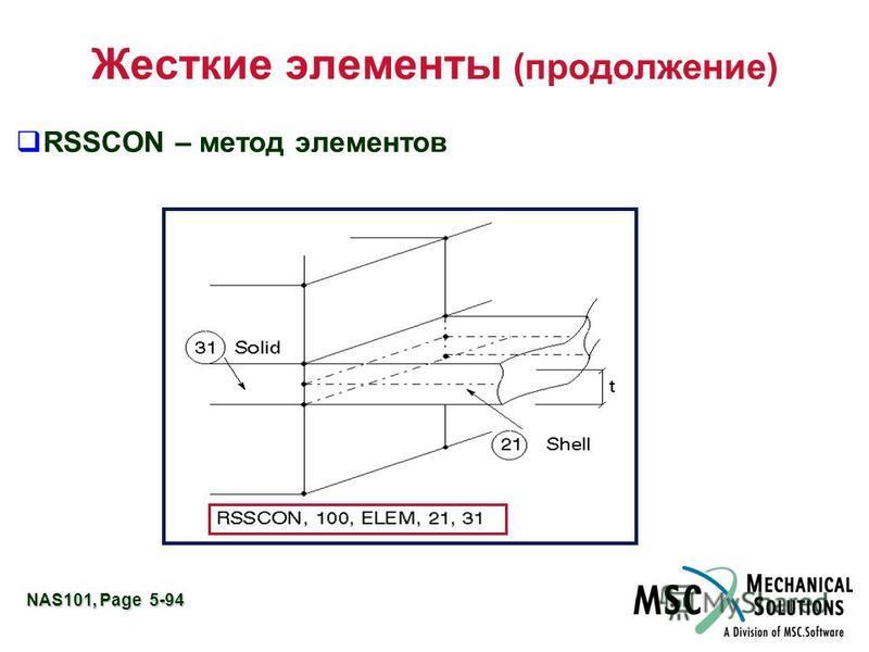 NAS101, Page 5-94 Жесткие элементы (продолжение) RSSCON – метод элементов