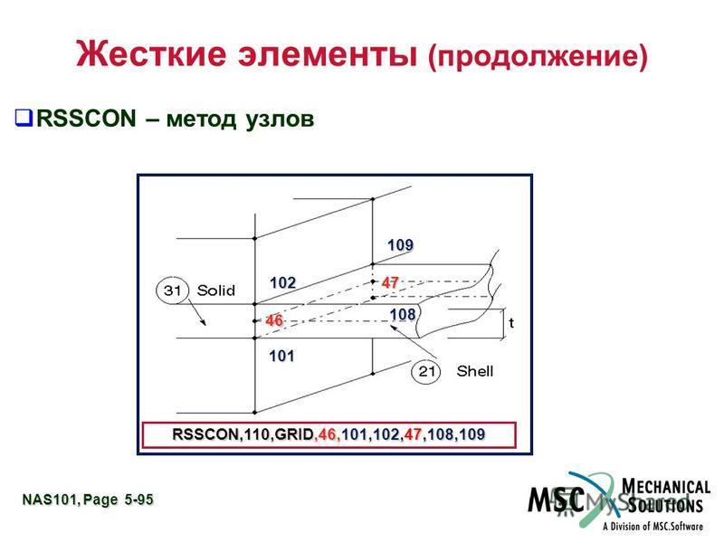 NAS101, Page 5-95 Жесткие элементы (продолжение) RSSCON – метод узлов RSSCON,110,GRID,46,101,102,47,108,109 46 101 47102 109 108