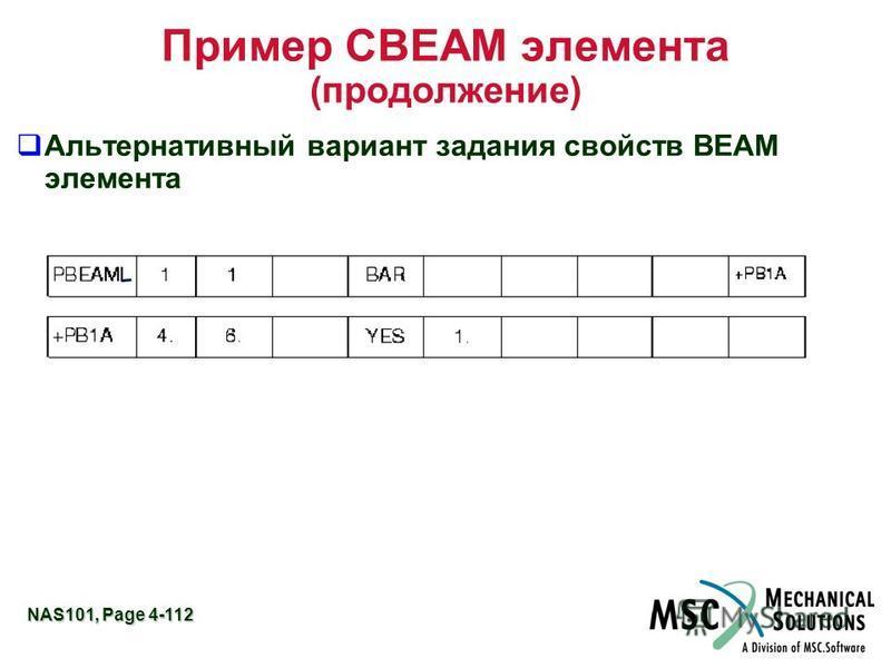 NAS101, Page 4-112 Пример CBEAM элемента (продолжение) Альтернативный вариант задания свойств BEAM элемента