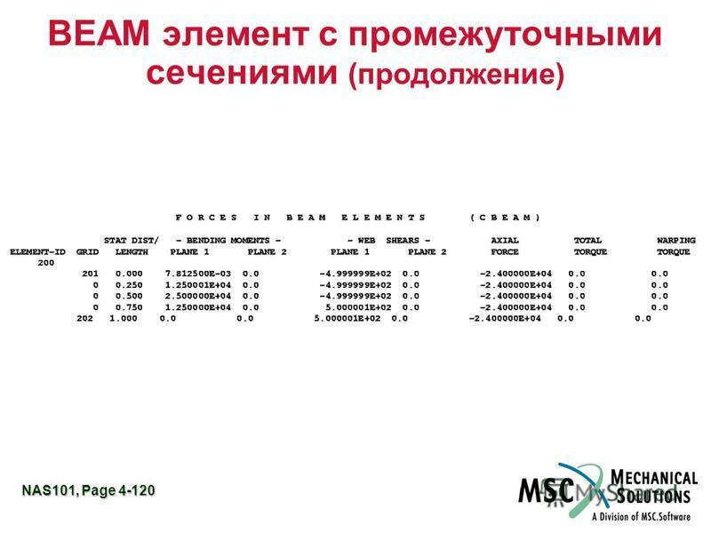 NAS101, Page 4-120 BEAM элемент с промежуточными сечениями (продолжение)