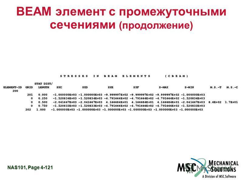 NAS101, Page 4-121 BEAM элемент с промежуточными сечениями (продолжение)