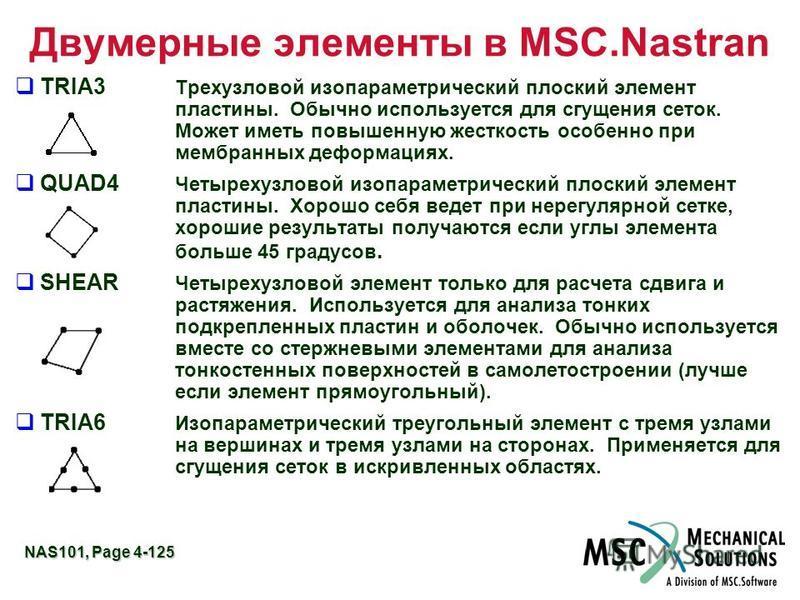 NAS101, Page 4-125 Двумерные элементы в MSC.Nastran TRIA3 Трехузловой изопараметрический плоский элемент пластины. Обычно используется для сгущения сеток. Может иметь повышенную жесткость особенно при мембранных деформациях. QUAD4 Четырехузловой изоп