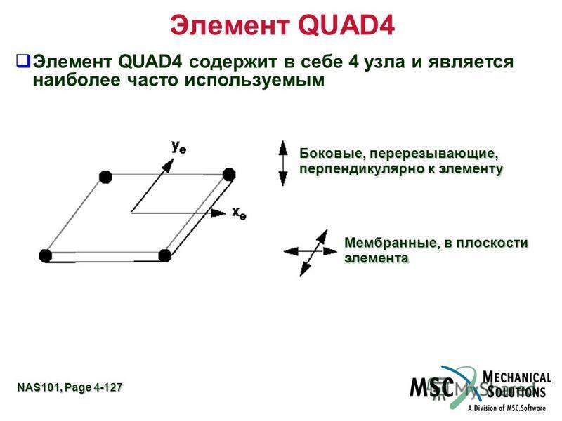 NAS101, Page 4-127 Элемент QUAD4 Элемент QUAD4 содержит в себе 4 узла и является наиболее часто используемым Боковые, перерезывающие, перпендикулярно к элементу Мембранные, в плоскости элемента