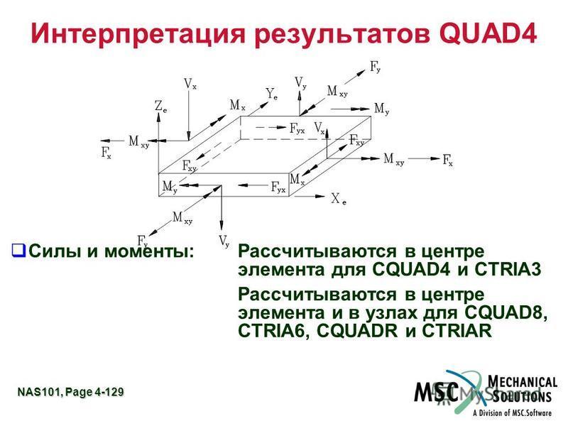 NAS101, Page 4-129 Интерпретация результатов QUAD4 Силы и моменты:Рассчитываются в центре элемента для CQUAD4 и CTRIA3 Рассчитываются в центре элемента и в узлах для CQUAD8, CTRIA6, CQUADR и CTRIAR