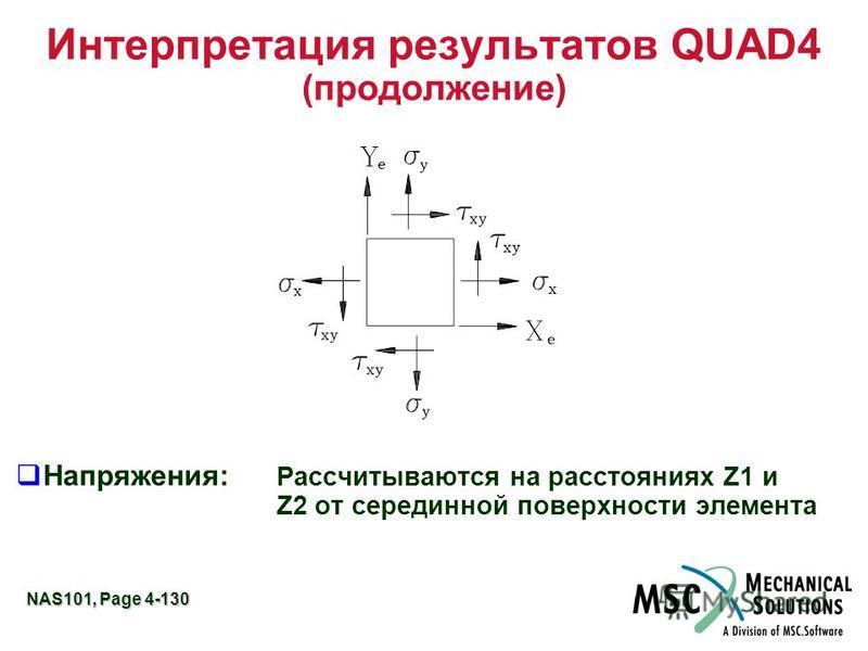 NAS101, Page 4-130 Интерпретация результатов QUAD4 (продолжение) Напряжения: Рассчитываются на расстояниях Z1 и Z2 от серединной поверхности элемента
