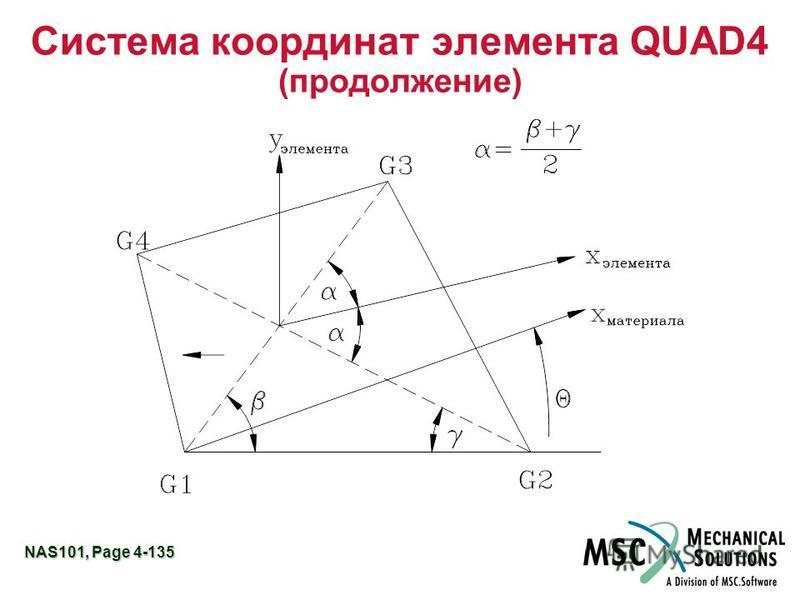 NAS101, Page 4-135 Система координат элемента QUAD4 (продолжение)