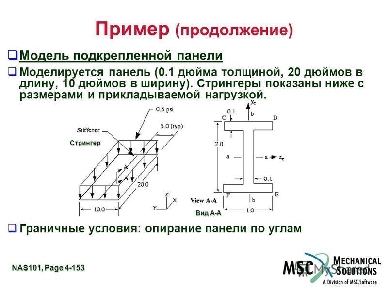 NAS101, Page 4-153 Пример (продолжение) Модель подкрепленной панели Моделируется панель (0.1 дюйма толщиной, 20 дюймов в длину, 10 дюймов в ширину). Стрингеры показаны ниже с размерами и прикладываемой нагрузкой. Граничные условия: опирание панели по