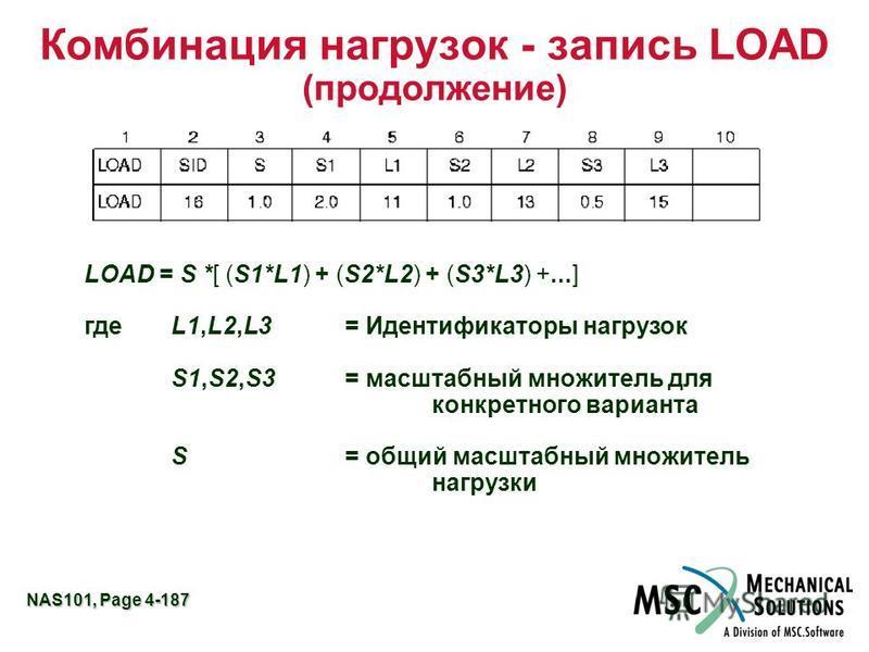 NAS101, Page 4-187 Комбинация нагрузок - запись LOAD (продолжение) LOAD = S *[ (S1*L1) + (S2*L2) + (S3*L3) +...] гдеL1,L2,L3= Идентификаторы нагрузок S1,S2,S3= масштабный множитель для конкретного варианта S= общий масштабный множитель нагрузки