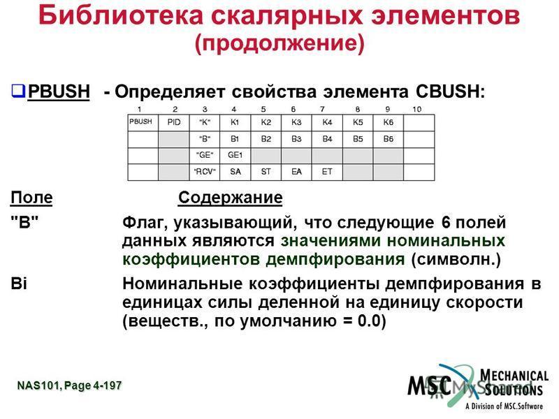 NAS101, Page 4-197 Библиотека скалярных элементов (продолжение) PBUSH - Определяет свойства элемента CBUSH: Поле Содержание