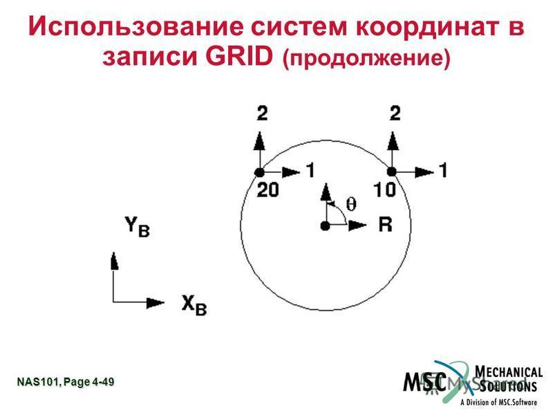 NAS101, Page 4-49 Использование систем координат в записи GRID (продолжение)