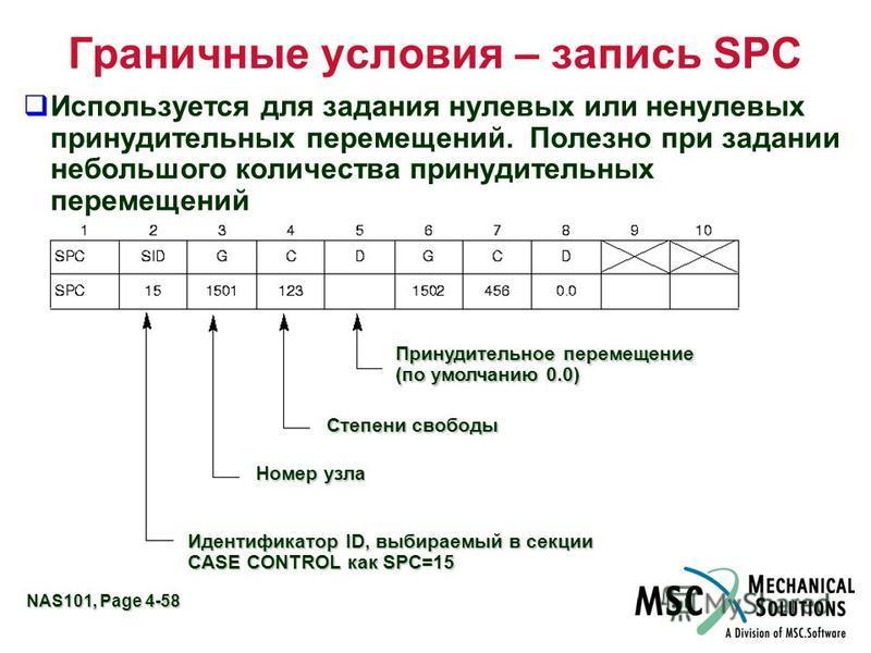 NAS101, Page 4-58 Граничные условия – запись SPC Используется для задания нулевых или ненулевых принудительных перемещений. Полезно при задании небольшого количества принудительных перемещений Принудительное перемещение (по умолчанию 0.0) Степени сво