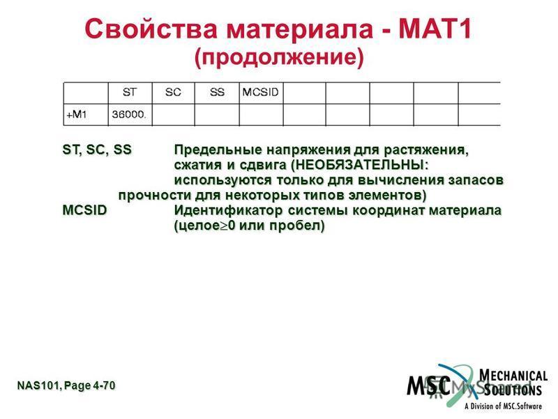 NAS101, Page 4-70 Свойства материала - MAT1 (продолжение) ST, SC, SSПредельные напряжения для растяжения, сжатия и сдвига (НЕОБЯЗАТЕЛЬНЫ: используются только для вычисления запасов прочности для некоторых типов элементов) MCSIDИдентификатор системы к