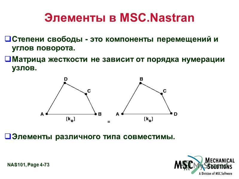 NAS101, Page 4-73 Элементы в MSC.Nastran Степени свободы - это компоненты перемещений и углов поворота. Матрица жесткости не зависит от порядка нумерации узлов. Элементы различного типа совместимы.