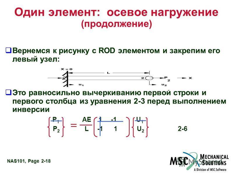 NAS101, Page 2-18 Один элемент: осевое нагружение (продолжение) Вернемся к рисунку с ROD элементом и закрепим его левый узел: Это равносильно вычеркиванию первой строки и первого столбца из уравнения 2-3 перед выполнением инверсии P 1 AE 1 -1 U 1 P 2