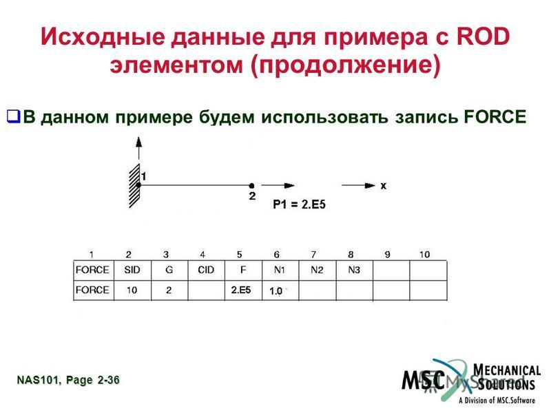 NAS101, Page 2-36 Исходные данные для примера с ROD элементом (продолжение) В данном примере будем использовать запись FORCE