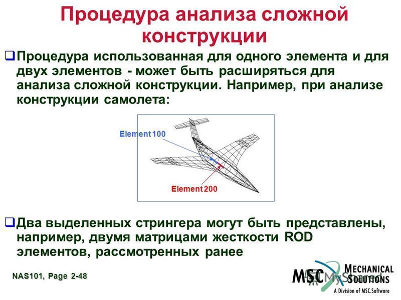 NAS101, Page 2-48 Процедура анализа сложной конструкции Процедура использованная для одного элемента и для двух элементов - может быть расширяться для анализа сложной конструкции. Например, при анализе конструкции самолета: Два выделенных стрингера м