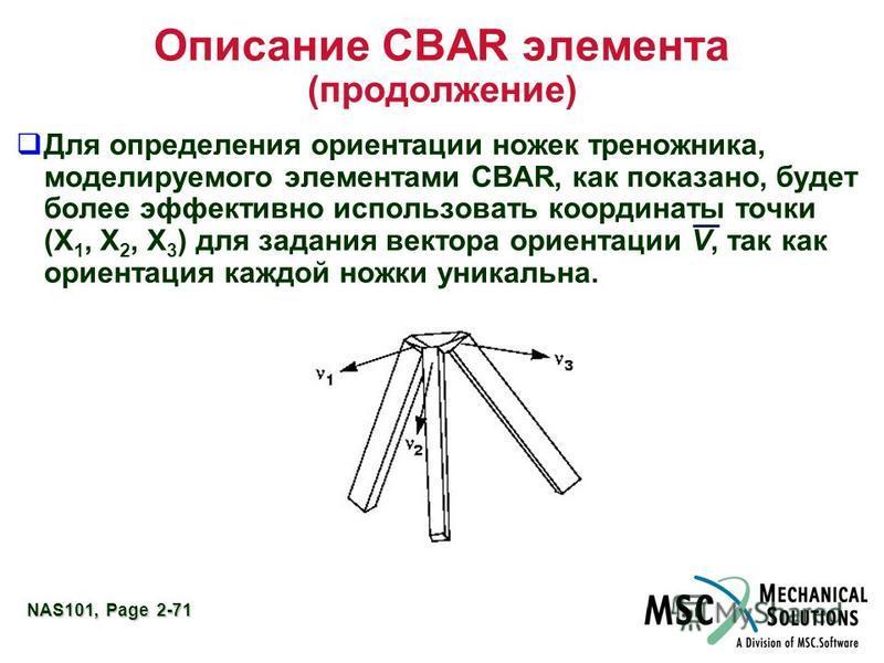 NAS101, Page 2-71 Описание CBAR элемента (продолжение) Для определения ориентации ножек треножника, моделируемого элементами CBAR, как показано, будет более эффективно использовать координаты точки (X 1, X 2, X 3 ) для задания вектора ориентации V, т